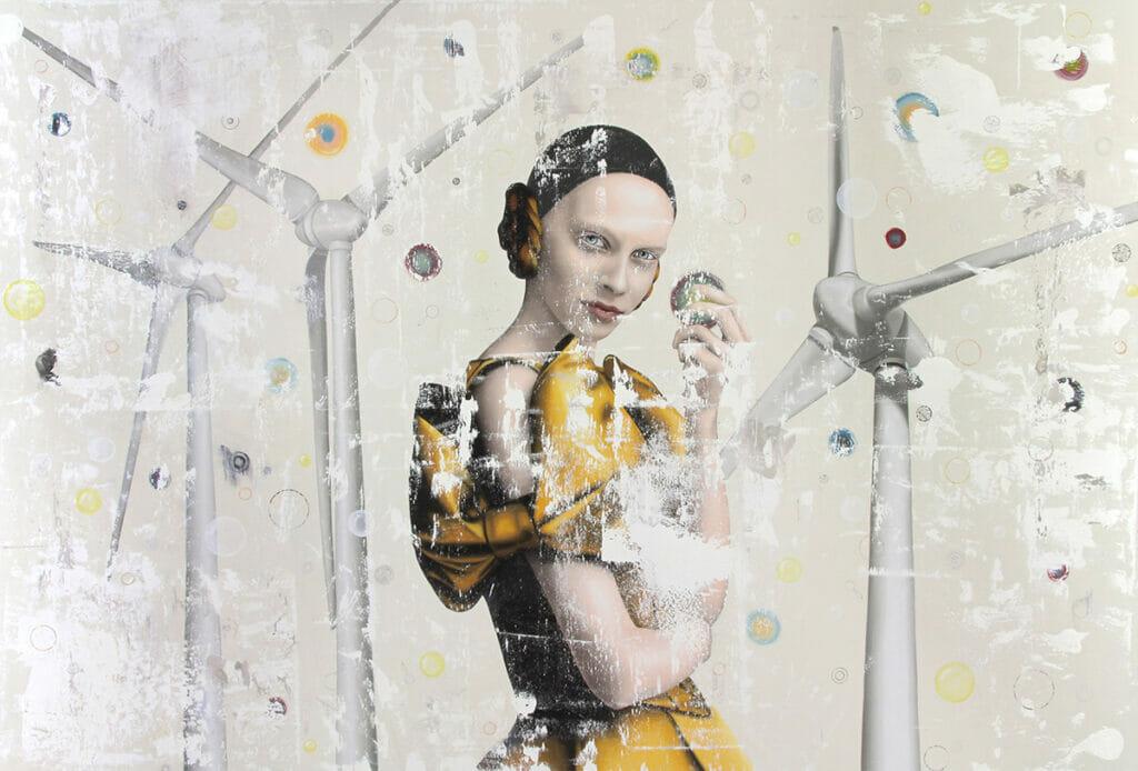 Sandra Ackermann, What Next, 220x150cm, Öl und Lackstift auf Leinwand, 2009-2019